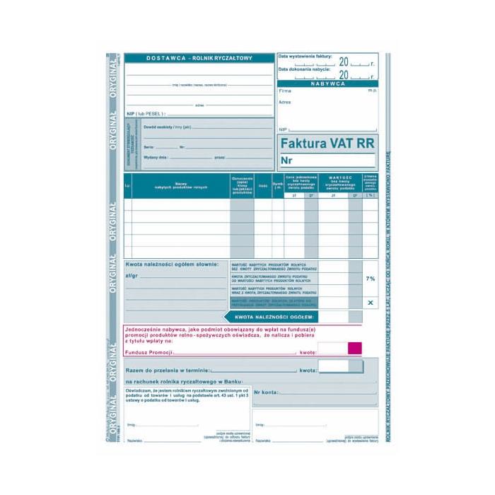 Mp Faktura Vat Rr 185 3 Format A5 Oryginał Kopia Sklep On Line